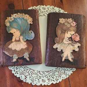 3D Wood Wall Plaque Picture Set Big Hair Girl 10x7